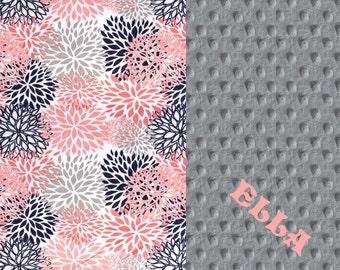 Personalized Baby Blanket For Girl / Coral Minky Baby Blanket, Blooms Navy Gray - Nursery Decor / Flower Baby Blanket // Name Blanket
