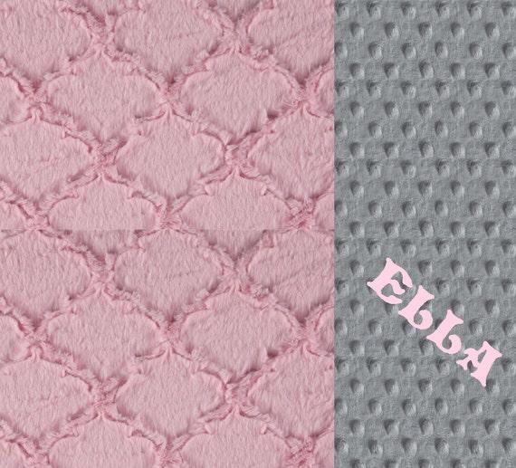 Baby Girl Personalized  Baby Blanket, Minky Baby Blanket, Pink Gray Geometric Blanket, Pink Baby Blanket, Name Baby Blanket Baby shower gift