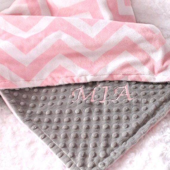 Personalized Baby Blanket For Girl / Minky Baby Blanket Girl, Gray Pink Chevron Blanket For Baby // Name Baby Blanket // Custom Blanket