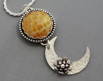 Crescent moon necklace silver sterling half moon necklace Snakeskin agate necklace pendant sun moon jewelry healing crystal stone necklace