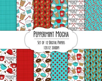 Peppermint Mocha Hand Drawn Digital Paper - Set of 12 - Coffee Mugs, Latte, Candy Canes, Snowflakes, Donuts - Instant Download - Item #8286
