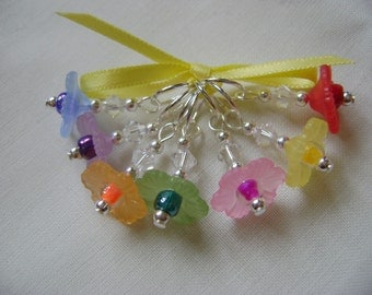 Rainbow Daisy Flowers Stitch Markers for Knitting or Crochet