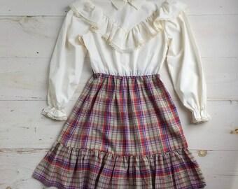 Vintage Cream and Plaid Dress