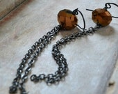 ON SALE Glass and chain earrings, copper colored glass, silver, boho jewelry - Sway