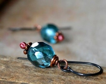 ON SALE 20% OFF Romantic glass and copper earrings, boho earrings, romantic gift, rustic jewelry - Kiss the Sky