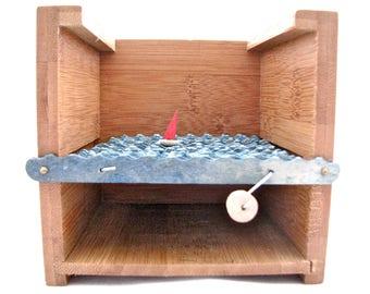 sailboat automaton, kinetic nautical sculpture, small wooden box, bamboo box decor, nautical decor