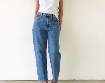 SALE Vintage 90s Calvin Klein High Waist Frayed Hem Mom Jeans - S/M