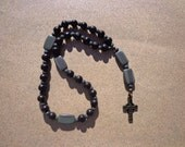 Anglican Episcopal Rosary, Brown Wood Beads with Serpentine Gemstone Beads, Antiqued Brass Celtic Cross, Protestant Rosary, Christian Gifts
