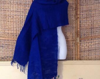 Vintage Mohair Wool Scarf Wrap Royal Blue Handmade Leribecraft Lesotho NEW Unused