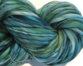 Bulky Handspun Yarn Luck of the Irish 106 yards hand dyed wool green yarn spruce yarn waldorf doll hair knitting supplies crochet supplies