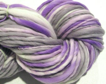 Handspun Yarn, Purple Rain 110 yards, hand dyed merino wool, lavender yarn grey yarn purple yarn waldorf doll hair knitting supplies,crochet