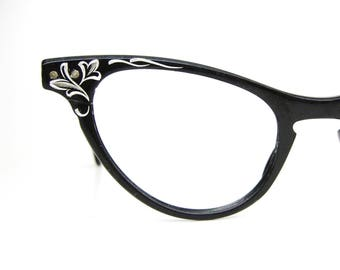 Vintage Black Cats Eye Eyeglasses Sunglasses Aluminum Bausch&Lomb Frame