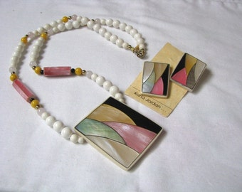 Karla Jordan abstract shell inlay pendant necklace set post back earrings