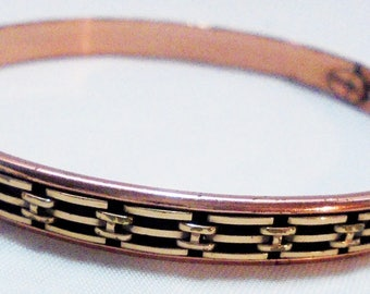 Chain Design Inside Copper Bangle by Renoir - vintage