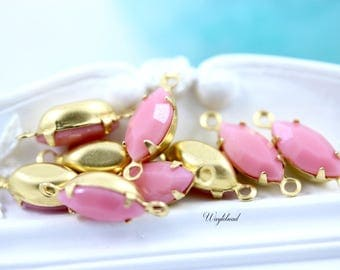 Petite Vintage Glass Navette Set Stones 1 Ring Closed Back Brass Prong Settings Pink 10x5mm - 6