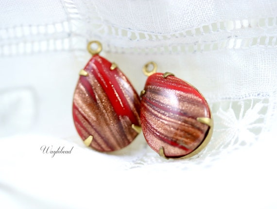 Red 18x13mm Vintage Pear Shaped Aventurina Set Stones 1 Ring Closed Back Brass Prong Settings - 2