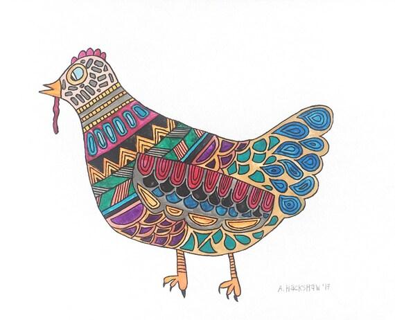 "Original Watercolor Painting - Kaleidoscope Chicken - 8""x10"""