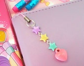 Planner Charm Phone Charm Bag Charm Kawaii Charm Pastel Heart Star Charm Dust Plug Zipper Pull Sweet Lolita Fairy Kei