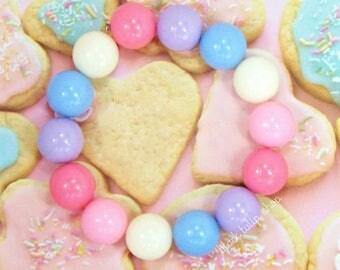 Pastel Jewelry Bracelet Gumballs Chunky Bracelet Kawaii Jewelry Pastel Beaded Bracelet Fairy Kei Sweet Lolita
