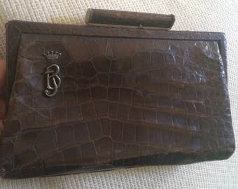 Vintage Alligator Clutch Purse Bag with Original Business Card