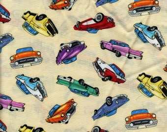 Vintage Cars and Trucks Toss Cotton Fabric for Sewing and Quilting Two Yards