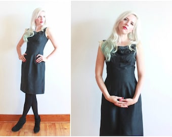 """vintage 1950s black silk wiggle dress with beaded appliques and lace cap sleeves / bust 34"""" waist 26"""""""