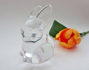 Vintage Glass Bunny Figurine - Heavy Glass Rabbit Bunny Figurine - Bunny Glass Paperweight - Glass Animal Bunny Figurine - Glass Sculpture