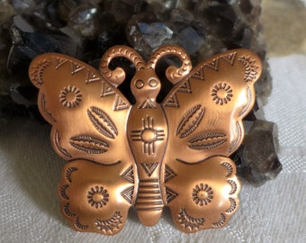 Butterfly Brooch Copper Southwestern Wildlife American Indian Symbols Unsigned