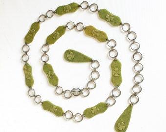 Vintage Chain Link Belt Clover Green Mottled Marbled Plastic Casein St. Patricks Day