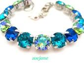 Swarovski Blue Zircon Peridot Glacier Blue Capri Blue Crystal Tennis Style Bracelet, Rhinestone Bracelet 39ss Stones, Gifts For Her Summer