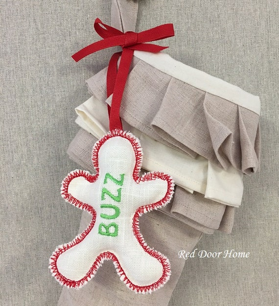 Personalized Embroidered Christmas Stocking Name Tag Label Gingerbread Man Boy Ornament Gift Wedding Favor