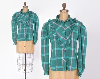 Vintage 80s Cotton TOP / 1980s Teal Green Plaid Ruffled Puff Sleeve Blouse
