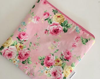 Zippered Wet Bag with Waterproof Lining - Pink Floral