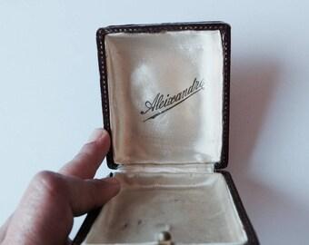 Antique french leather jewelry box century XIX
