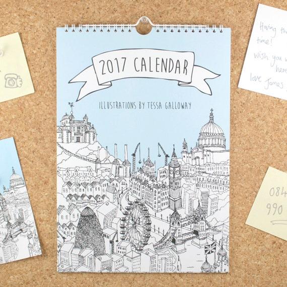 City Illustrations Wall Calendar 2017 | 2017 Wall Planner | Unique Calendar | Unique Christmas Gift | 2017 Calendar | 2017 Diary