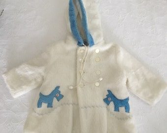 1950s Toddler WHITE FUR COAT Scotty Dog, Faux Fur, m&m, Hooded Vintage Baby Winter