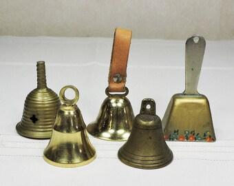 Vintage Brass Bells 5 Pieces