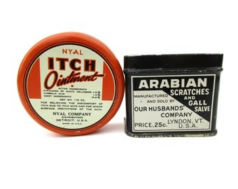 Two Vintage Itch Scratch Tins Black Orange Ointment Horse Salve