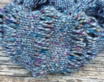 Infinity scarf. Handknitted scarf.Grey flecked yarn knitted scarf.Unisex knitted scarf.