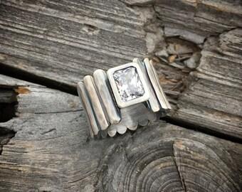 Sterling Silver Ring Handmade Sterling Silver Cubic Zirconia Ring By Joy Kruse Wild Prairie Silver