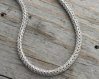 Sterling Silver Chain 3mm Thick Sterling Silver Chain Heavy Woven Sterling Silver Chain Bracelet or Necklace