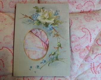 Vintage Victorian or Edwardian Floral Photo Mount Roses and Forget Me Nots