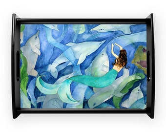 Dolphins and mermaid party coastal serving tray from my art, available in 2 sizes