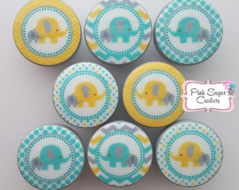 Elephant Babies Knobs Teal Blue Gray Yellow Drawer Pulls Boys Chevron Dots Kids Nursery Room... so cute