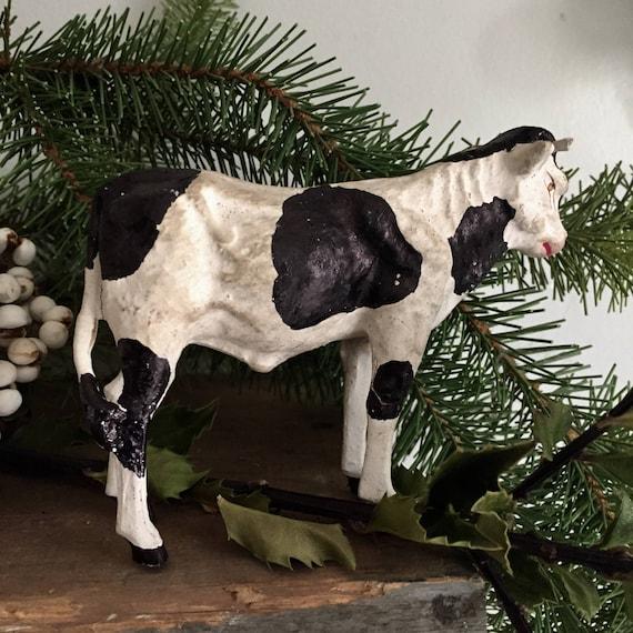 Calf early primitive toy, papier-mâché