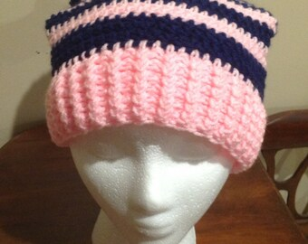 Pink and Navy Blue Sloucht Hat/Beanie