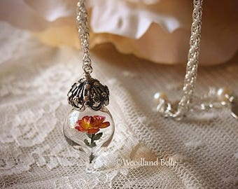 ON SALE Peace Yellow Pink Rose Flower Glass Terrarium Necklace by Woodland Belle