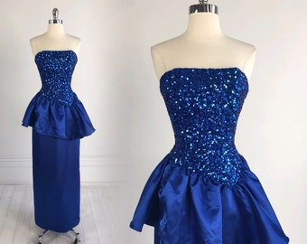 Vintage Mike Benet 80s PROM DRESS blue sequins peplum strapless full length maxi evening formal nwt / nos S glam 1980s