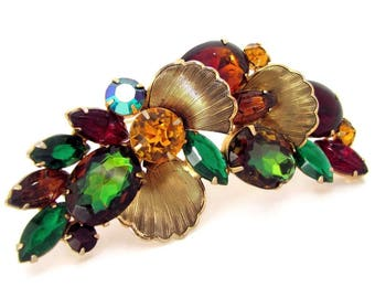 Vintage D&E JULIANA Rhinestone Pin Watermelon Heliotrope Art Carved Stones Large