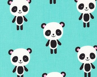 Robert Kaufman Fabric Urban Zoologie Pandas Aqua by Ann Kelle, Choose your cut